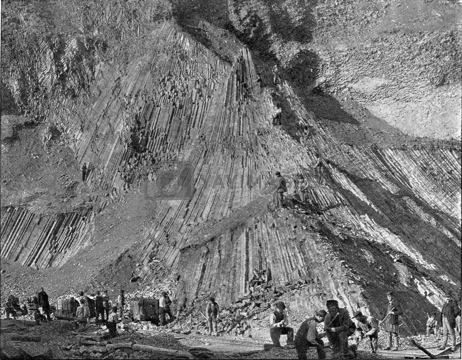 Royalty free image of Basalt extraction on the banks of the Rhine, vintage engraving. by Morphart
