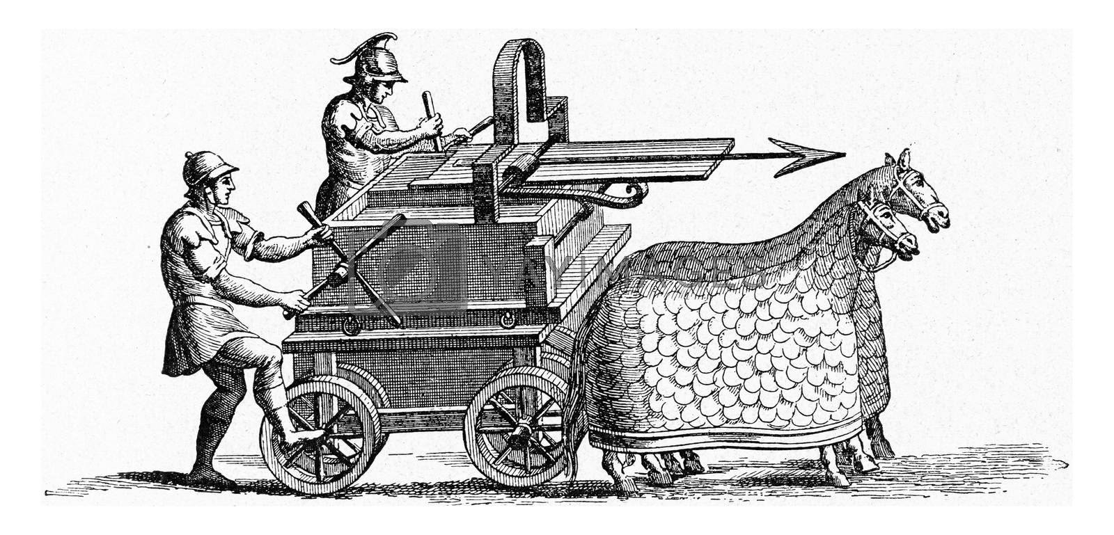 Royalty free image of Ancient Roman machine throwing javelins, vintage engraving. by Morphart