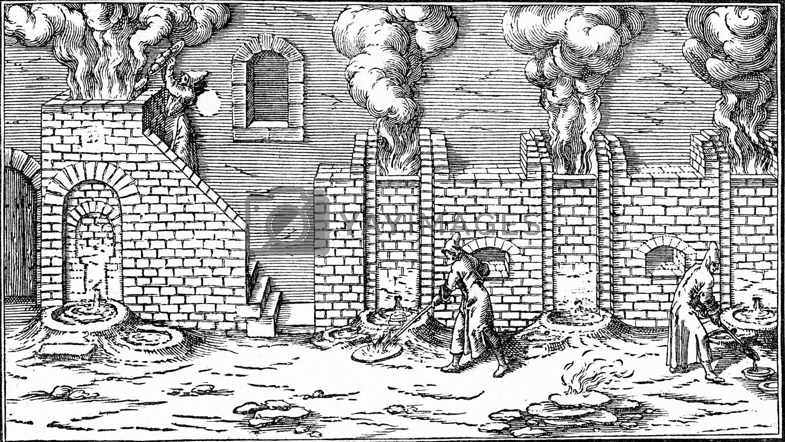 A blast furnace in the seventeenth century, vintage engraved illustration. From the Universe and Humanity, 1910.
