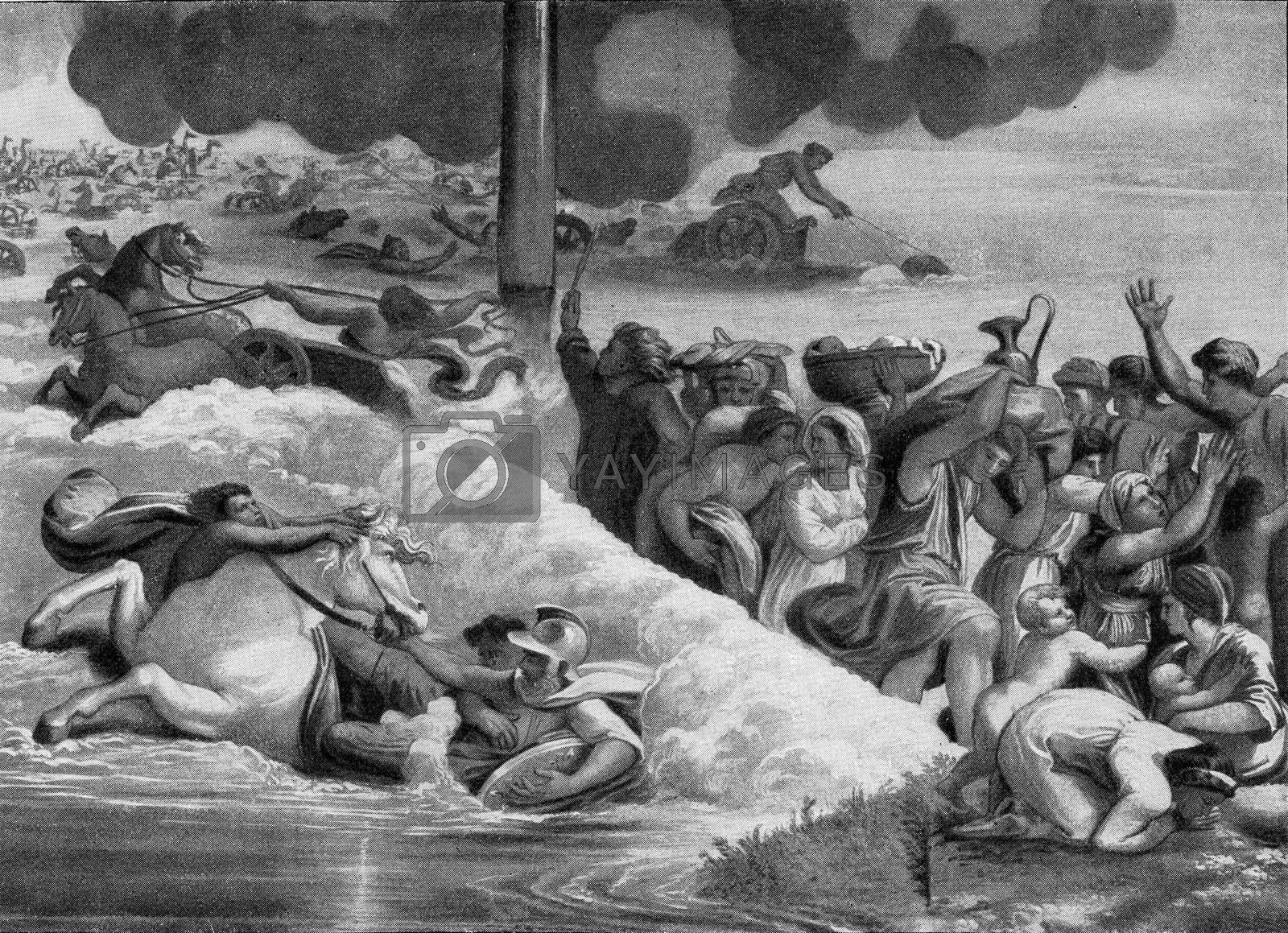 The Egyptians continue the Nights perish in the Red Sea, vintage engraved illustration. From the Universe and Humanity, 1910.