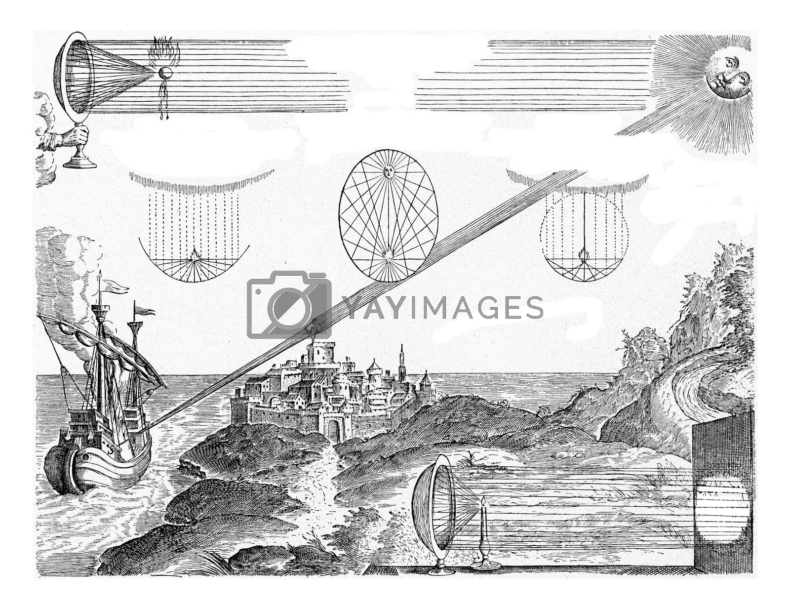 Action of the hollow or burning mirror, vintage engraving. by Morphart