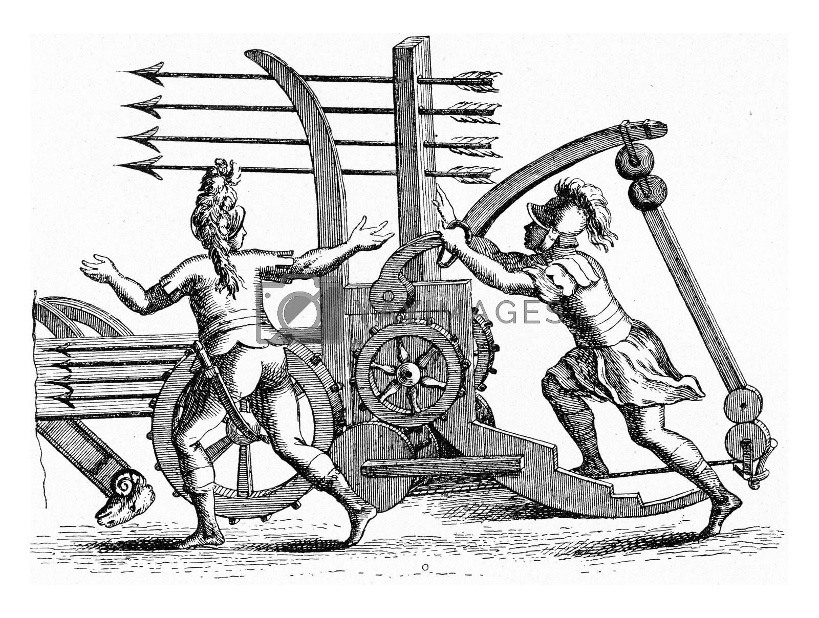 Roman machine throwing javelins by four, vintage engraving. by Morphart