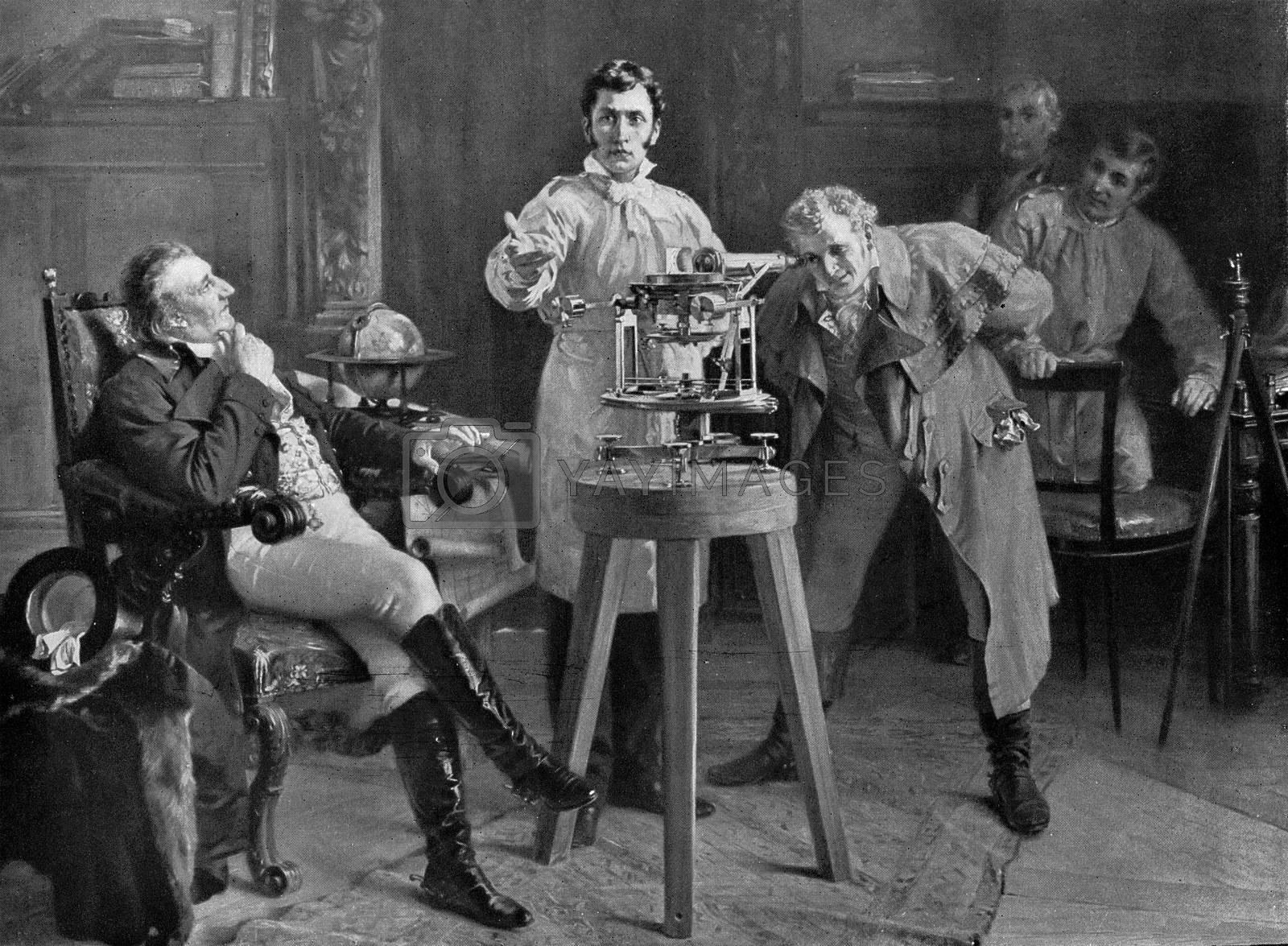Royalty free image of Joseph Fraunhofer presents his spectrometer, vintage engraving. by Morphart