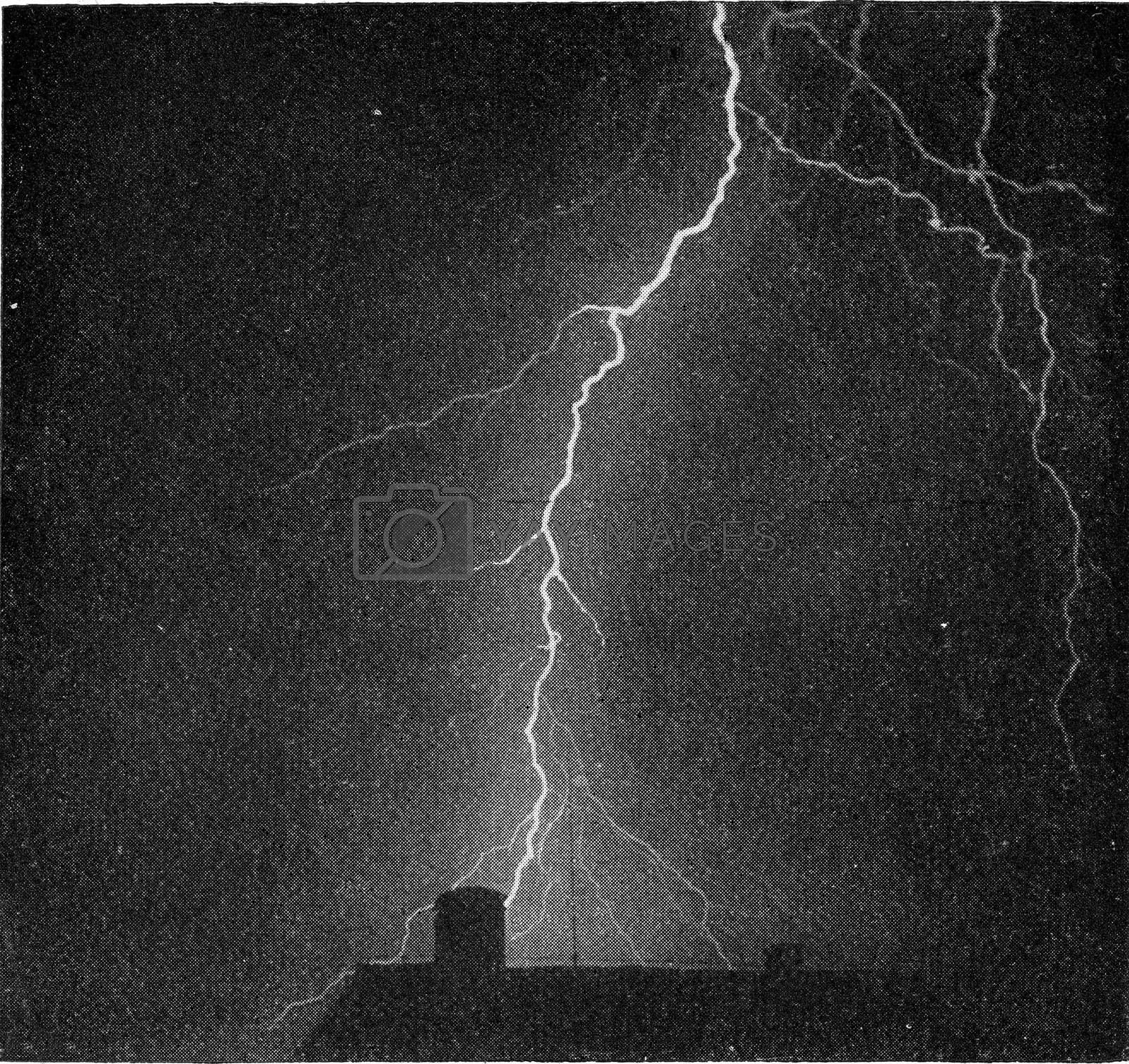 Royalty free image of Photograph of a violent thunderbolt, vintage engraving. by Morphart