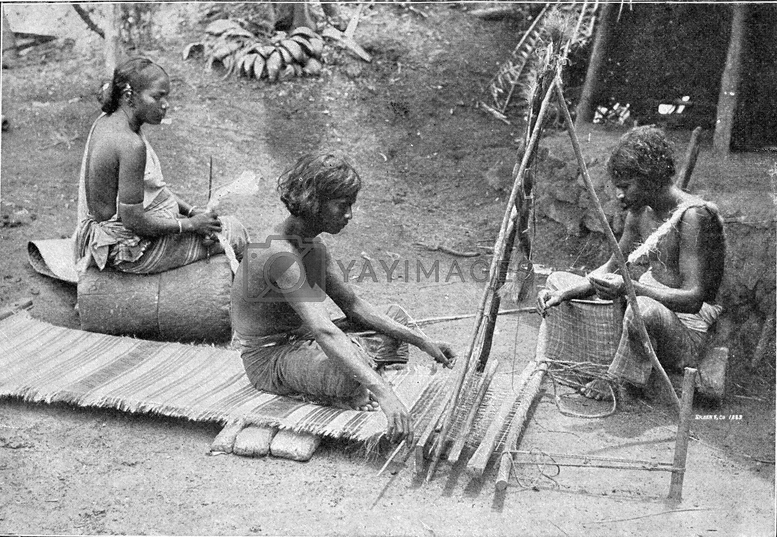 Ceylon Tamils spinning and braiding mats, vintage engraved illustration. From the Universe and Humanity, 1910.