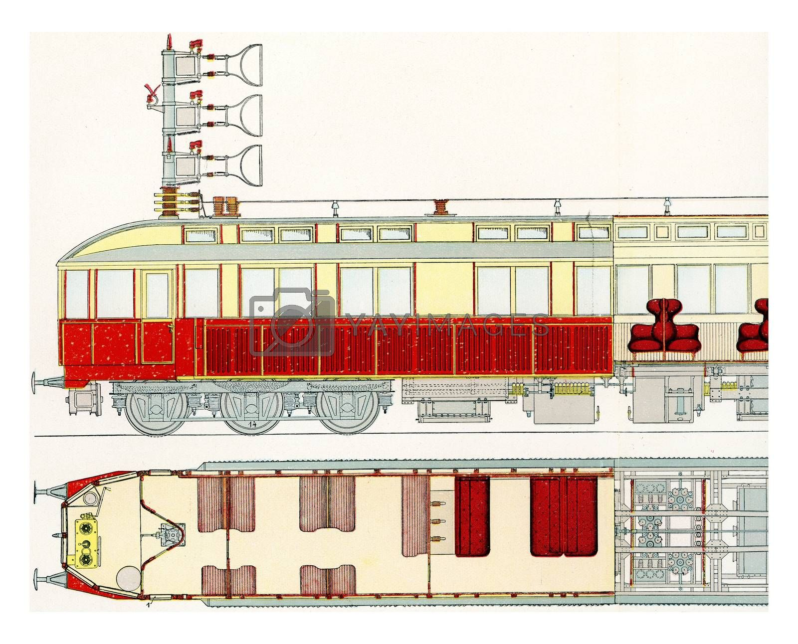 Section of a motor car fast test railway Marienfelde-Zossen, vintage engraved illustration. From the Universe and Humanity, 1910.