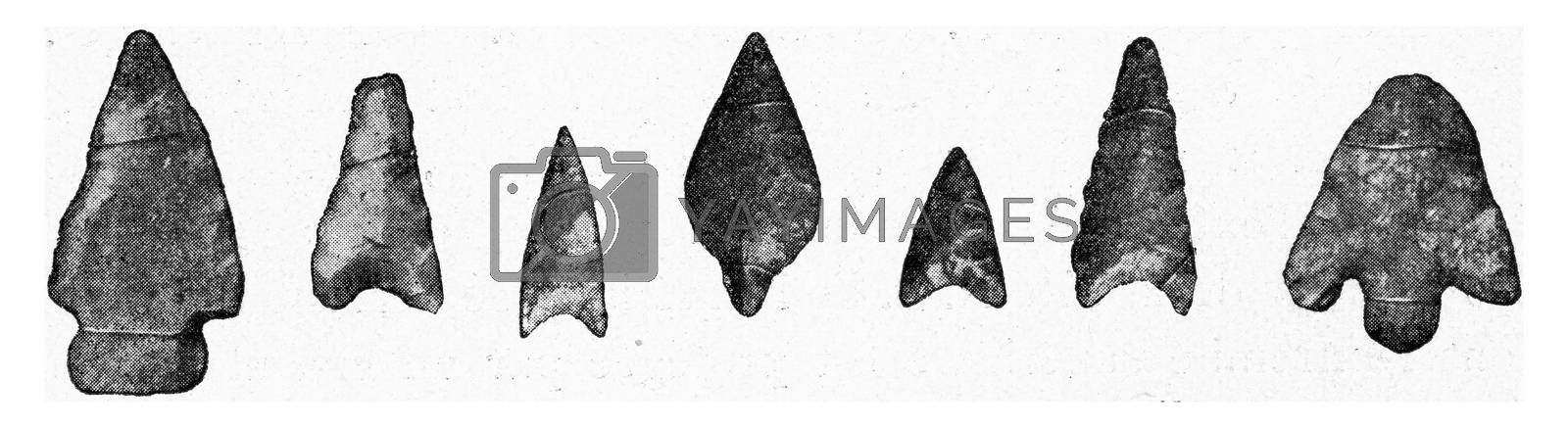 German arrowheads in flint, vintage engraved illustration. From the Universe and Humanity, 1910.