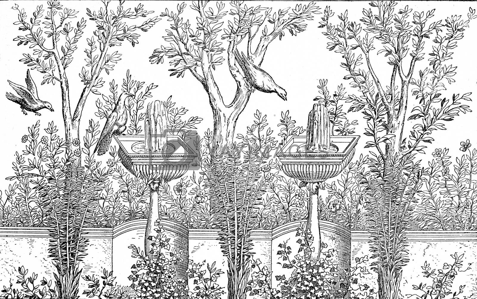 Decorative Garden, vintage engraved illustration. Private life of Ancient-Antique family-1881.