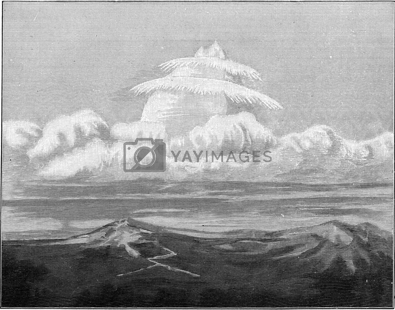 Hail cloud over the Julian Alps observed in Venice on April 27, 1895, vintage engraved illustration. From the Universe and Humanity, 1910.