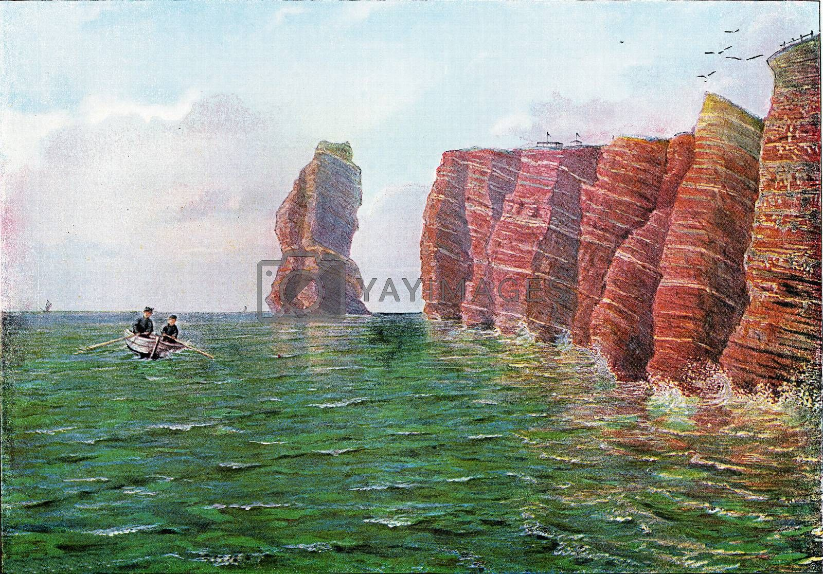 Pointed north of Heligoland to the west at high tide, vintage en by Morphart