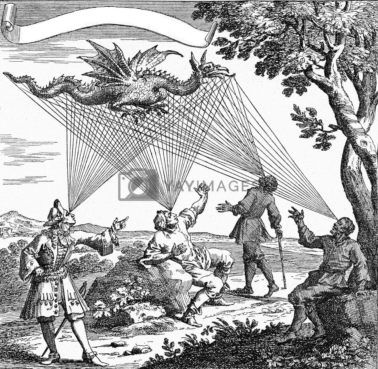 A dragon seen from different visual angles, vintage engraved illustration. From the Universe and Humanity, 1910.