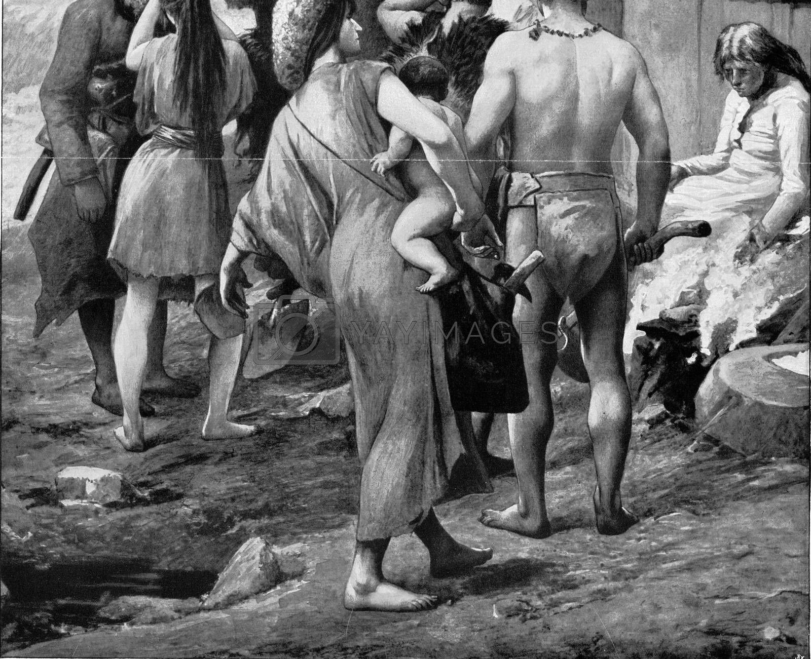 In the Bronze Age, vintage engraved illustration. From the Universe and Humanity, 1910.