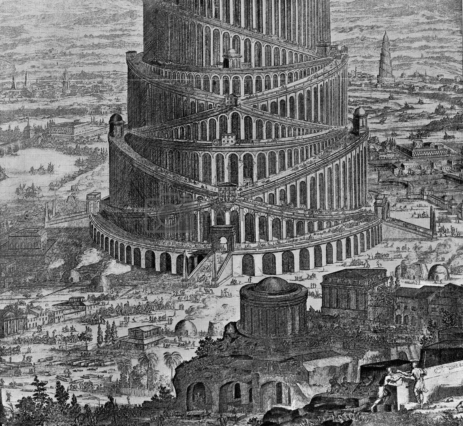Construction of the tower of Babel, vintage engraved illustration. From the Universe and Humanity, 1910.