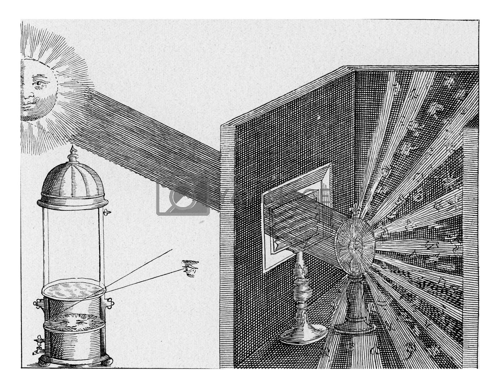 Refraction and diffusion of sunlight, vintage engraved illustration. From the Universe and Humanity, 1910.