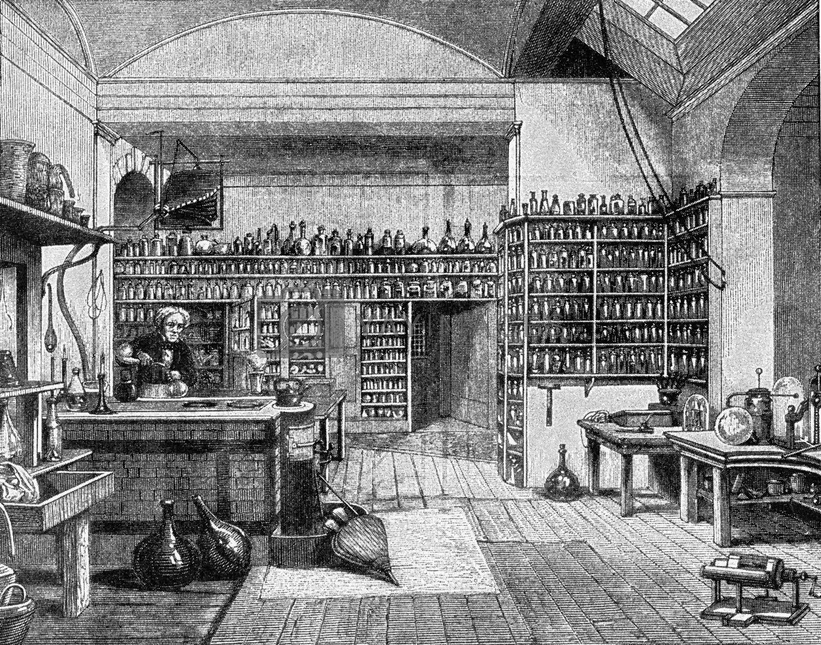 Faraday in his laboratory at the Royal Institution in London, vi by Morphart