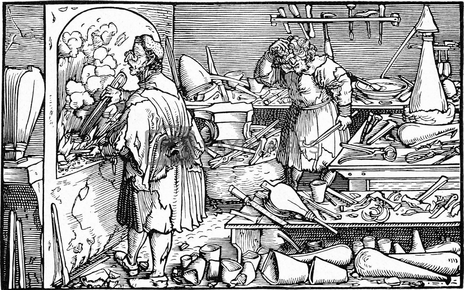 Alchemist laboratory, vintage engraving. by Morphart