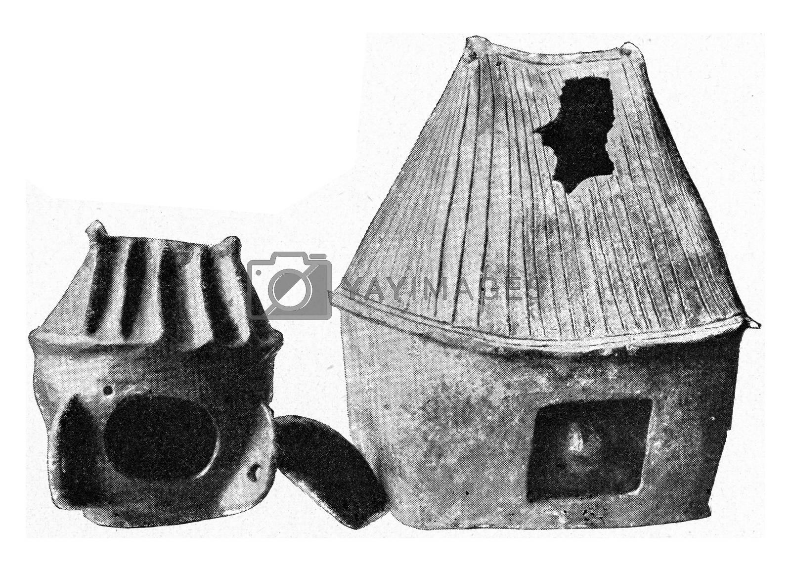 Family urns from Wilsleben and Aschersleben, vintage engraving. by Morphart