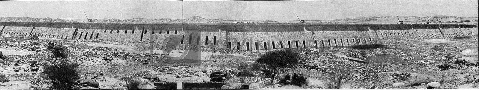 Nile Dam at Aswan in Upper Egypt, vintage engraved illustration. From the Universe and Humanity, 1910.