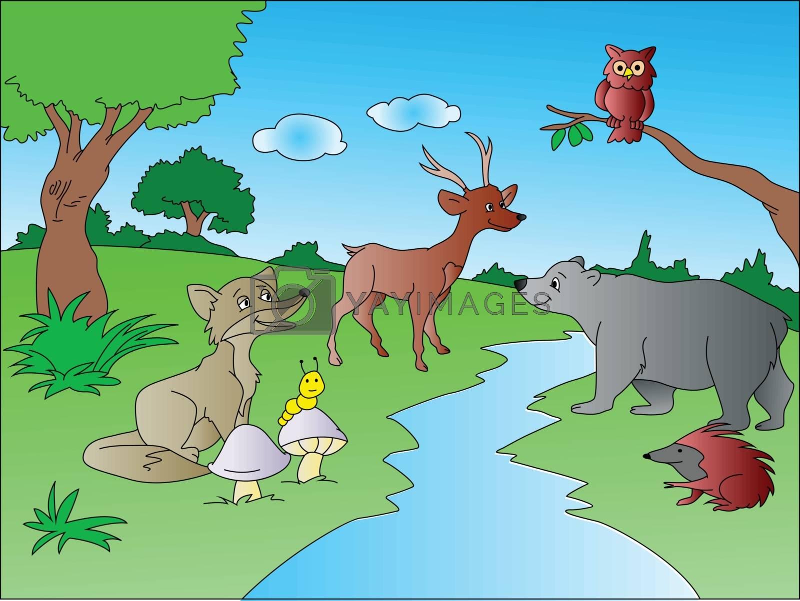 Vector illustration of wild forest animals.