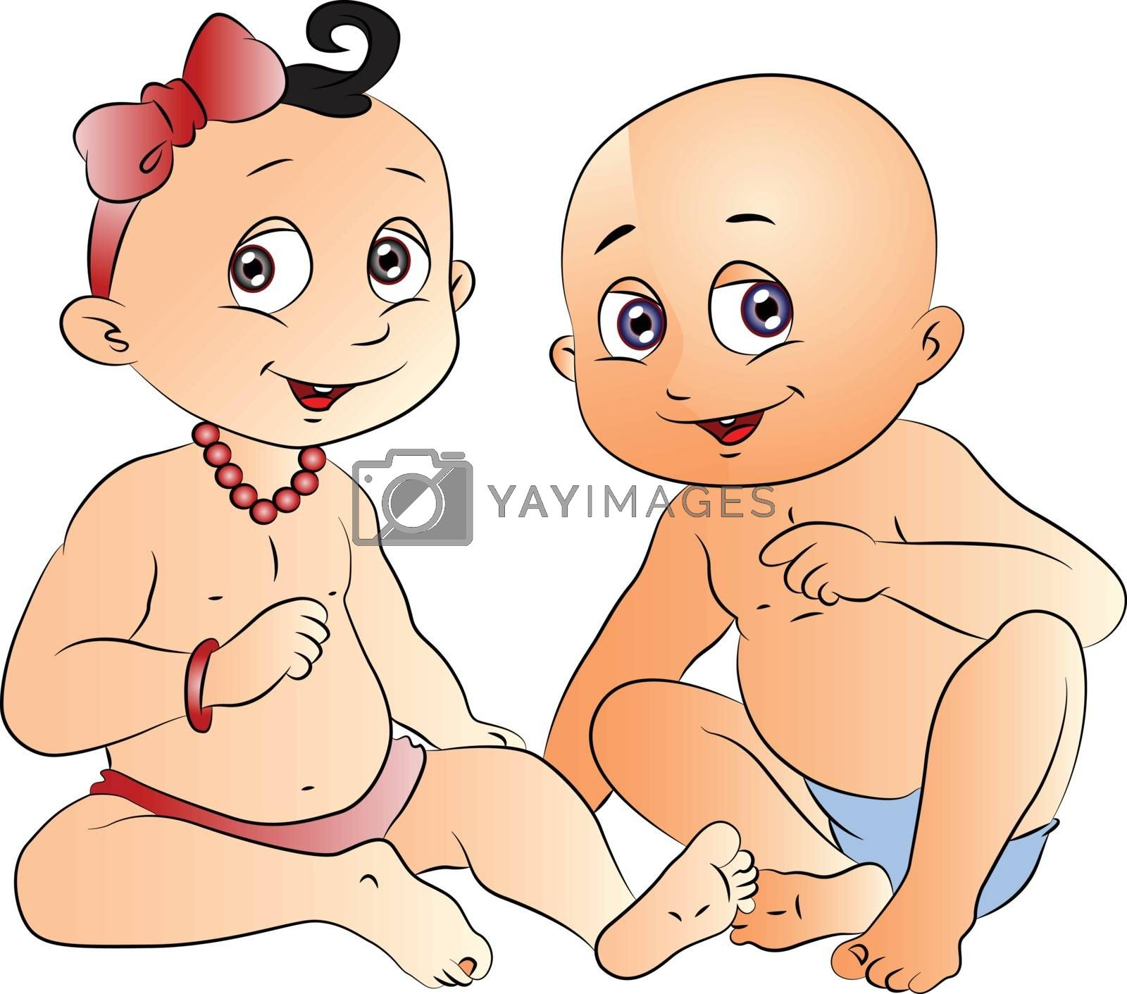 Royalty free image of Vector of cute babies gossiping. by Morphart