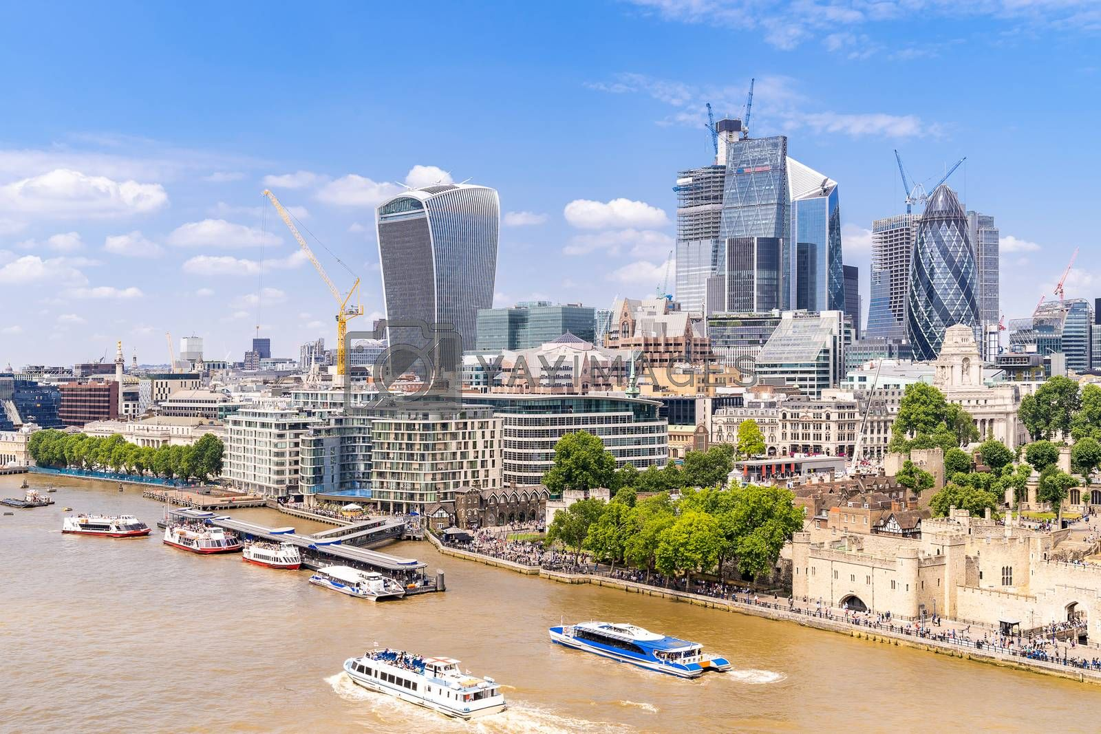 London downtown cityscape skylines building with River Thames in London UK