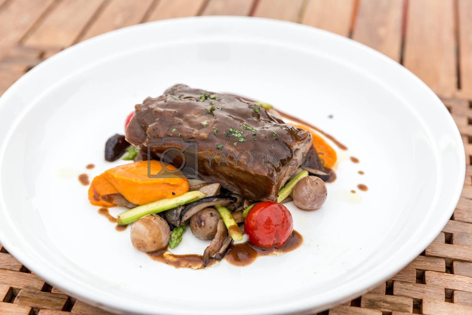 Slow cook roasted Rib with grilled vegetable