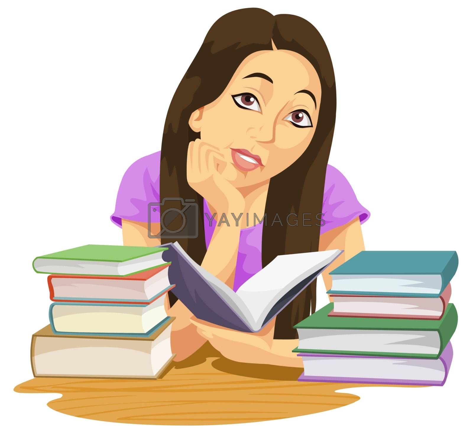 Education showing a girl reading a book and more books piled on the table, vector illustration