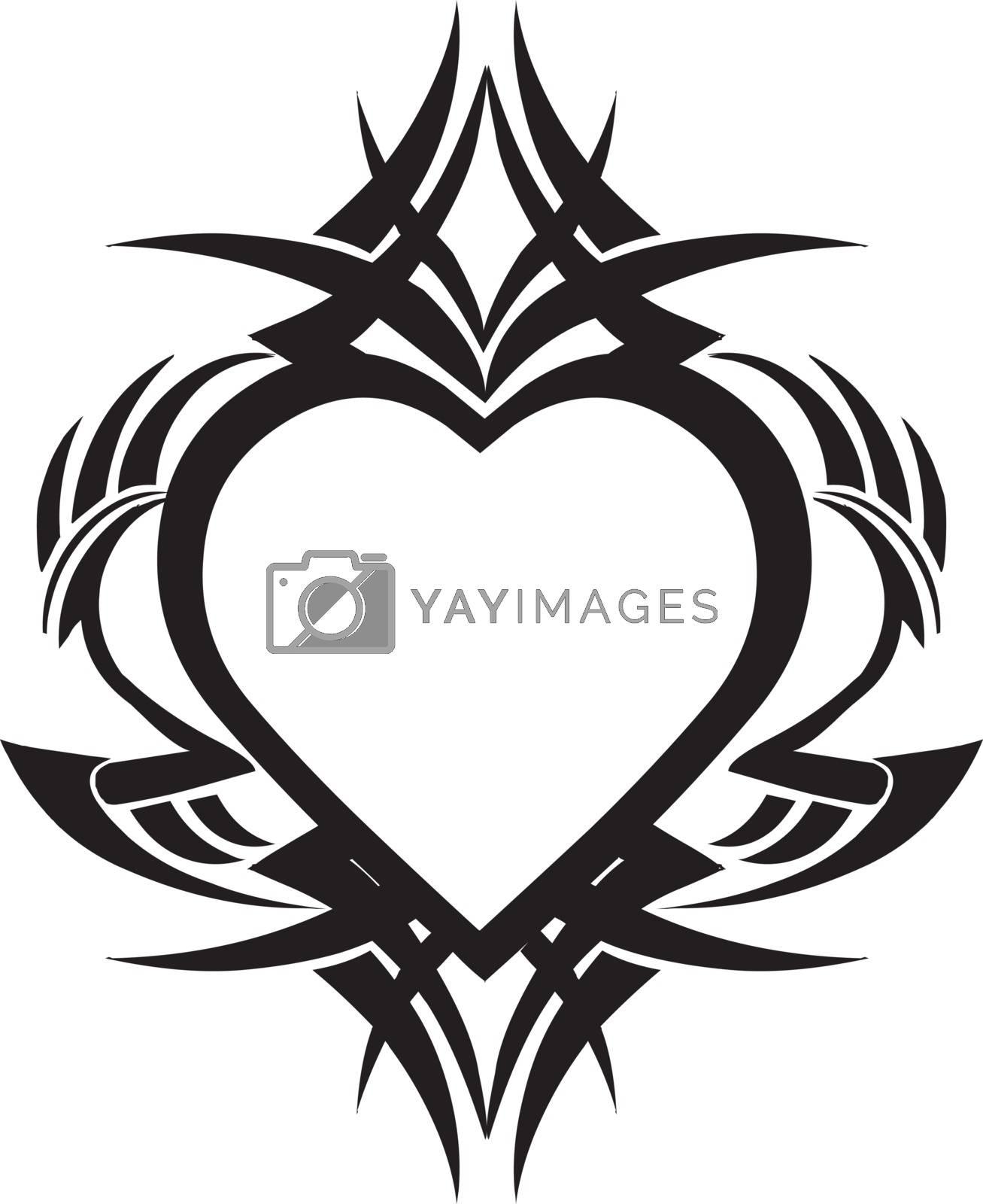 Tattoo design of heart shape, vintage engraved illustration.