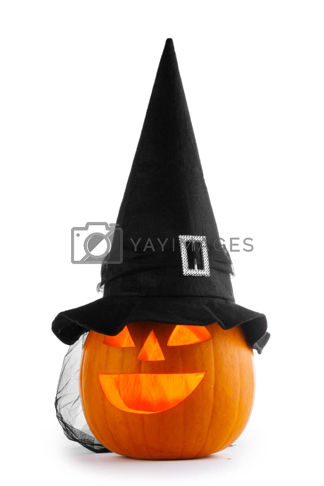 Jack O Lantern Halloween pumpkin with witches hat isolated on white background