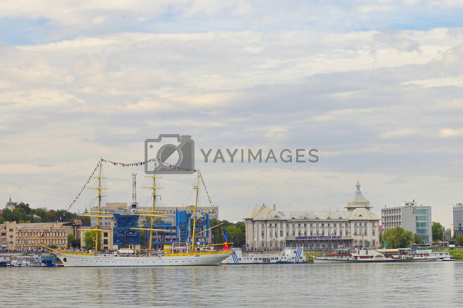 Galati, Romania - September 17, 2019. Brice Mircea Romanian Military Navy School Ship docked on Danube river in commercial port quay of Galati