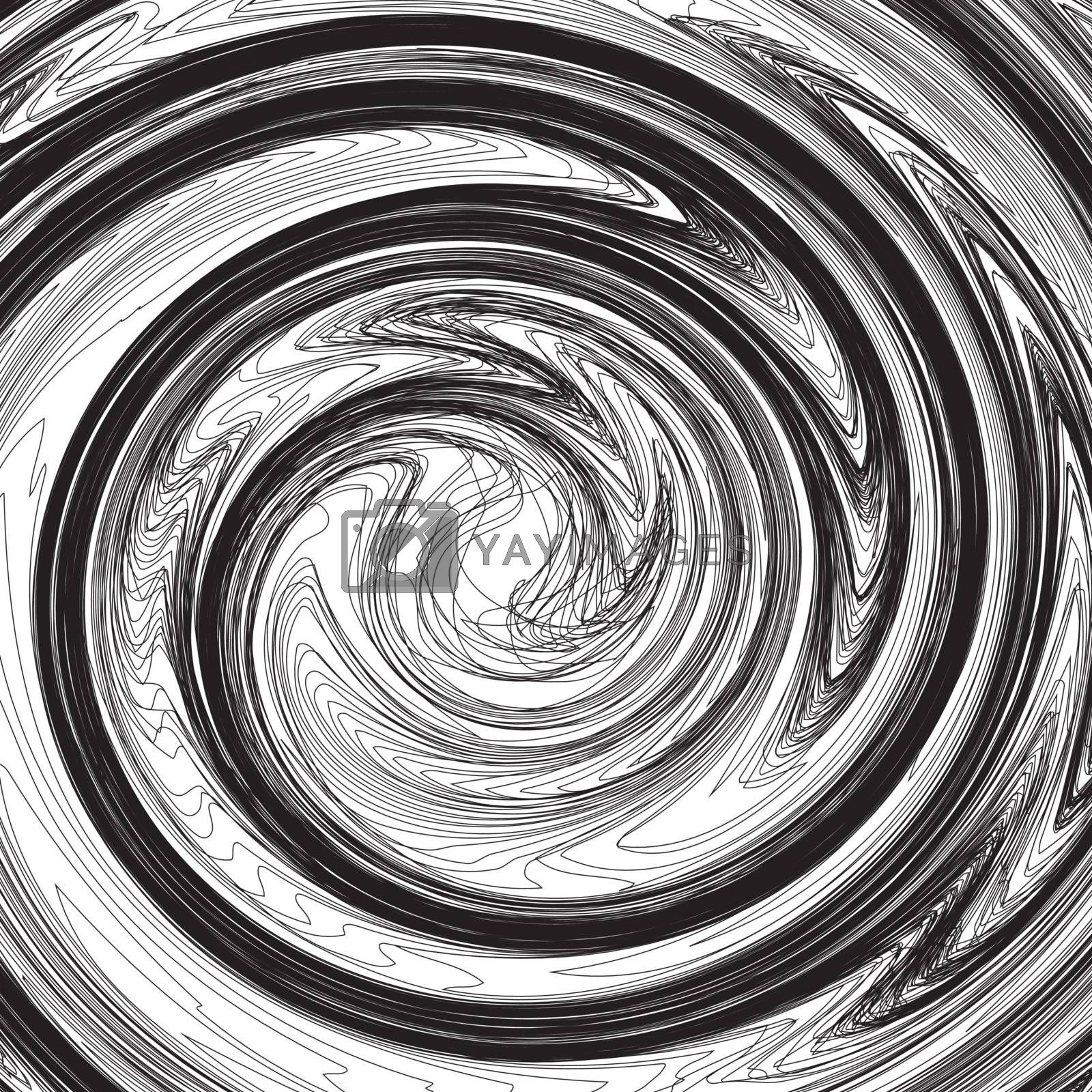 Set of lines twisted into a spiral shape. Vector illustration in black and white style.