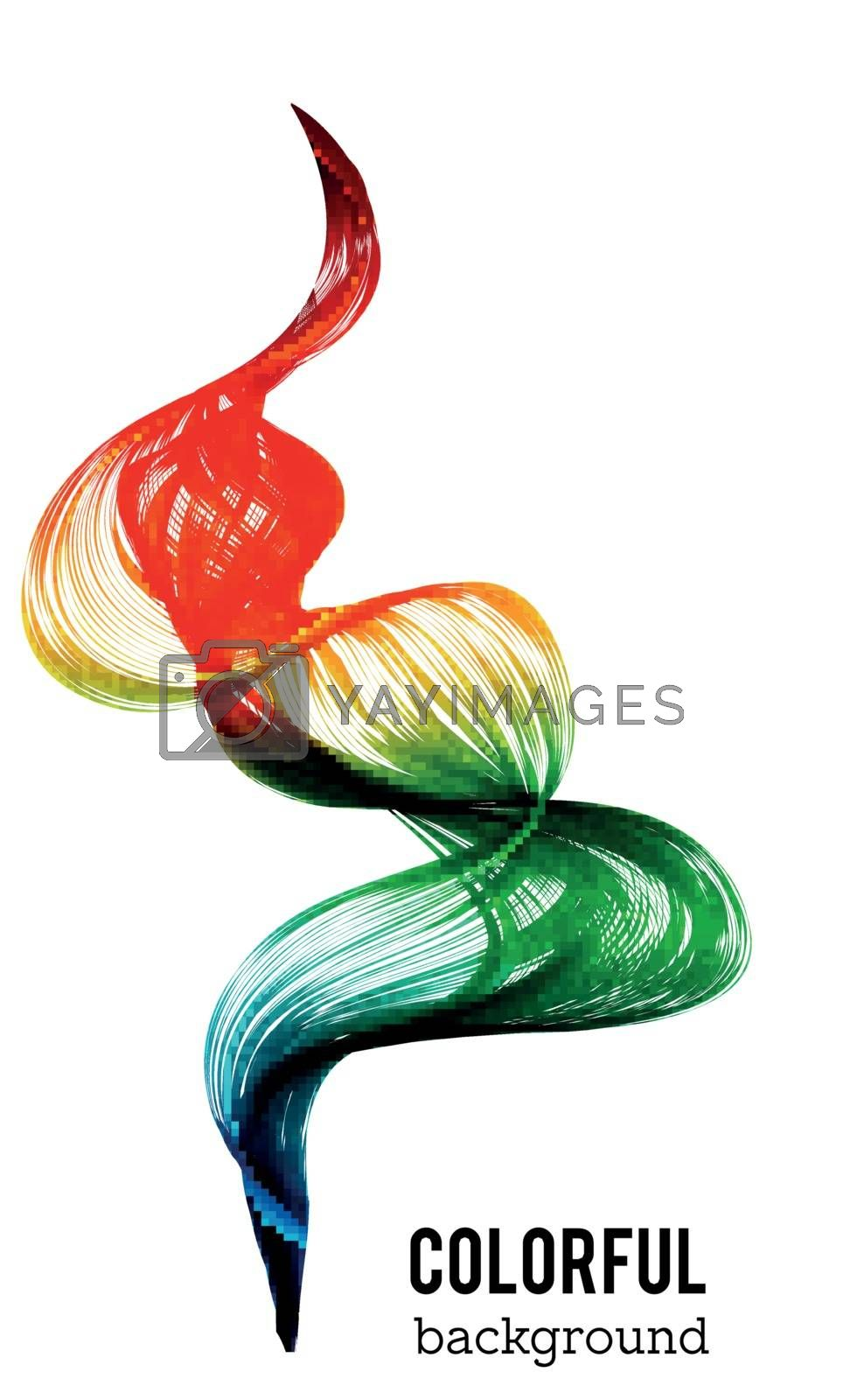 Abstract colorful wave background. Set of wavy lines in the vertical plane. Wave made of smoke on white background. Vector illustration