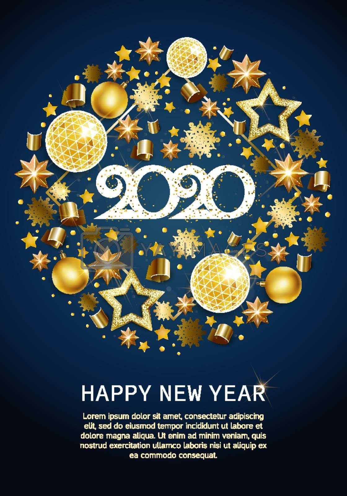2020 happy new year gold greeting card with text 2020