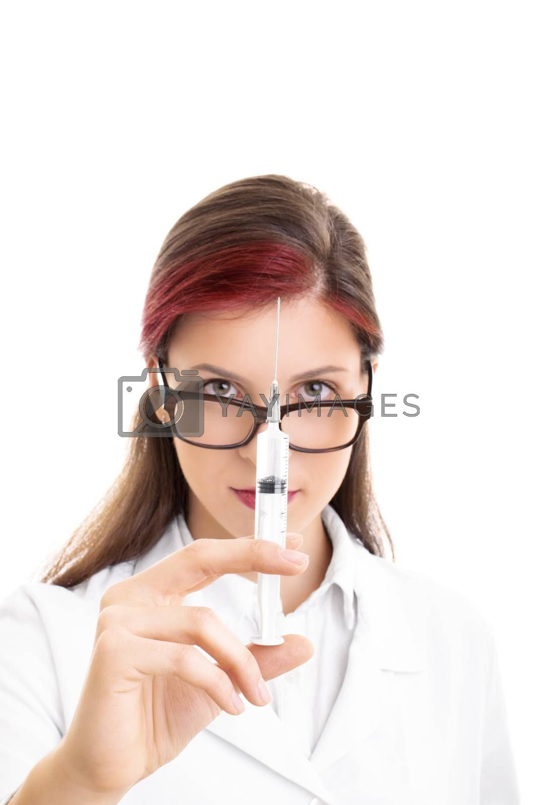 Close up shot of a young female doctor with glasses holding a syringe with needle, isolated on white background.