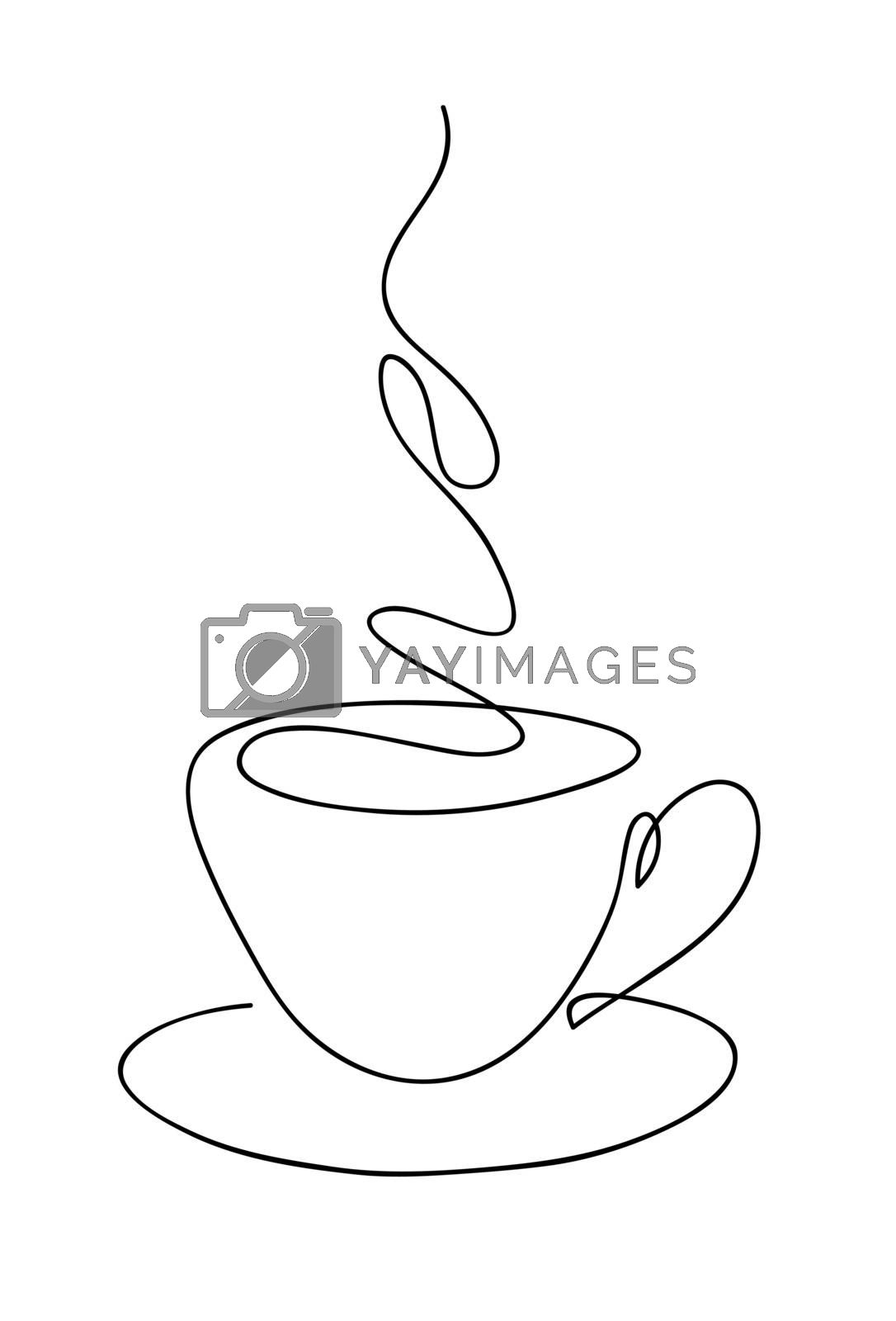 Cup cup of coffee continuous line art hand drawing. Coffee house logo. Outline style drawn sketch vector illustration. by ESSL