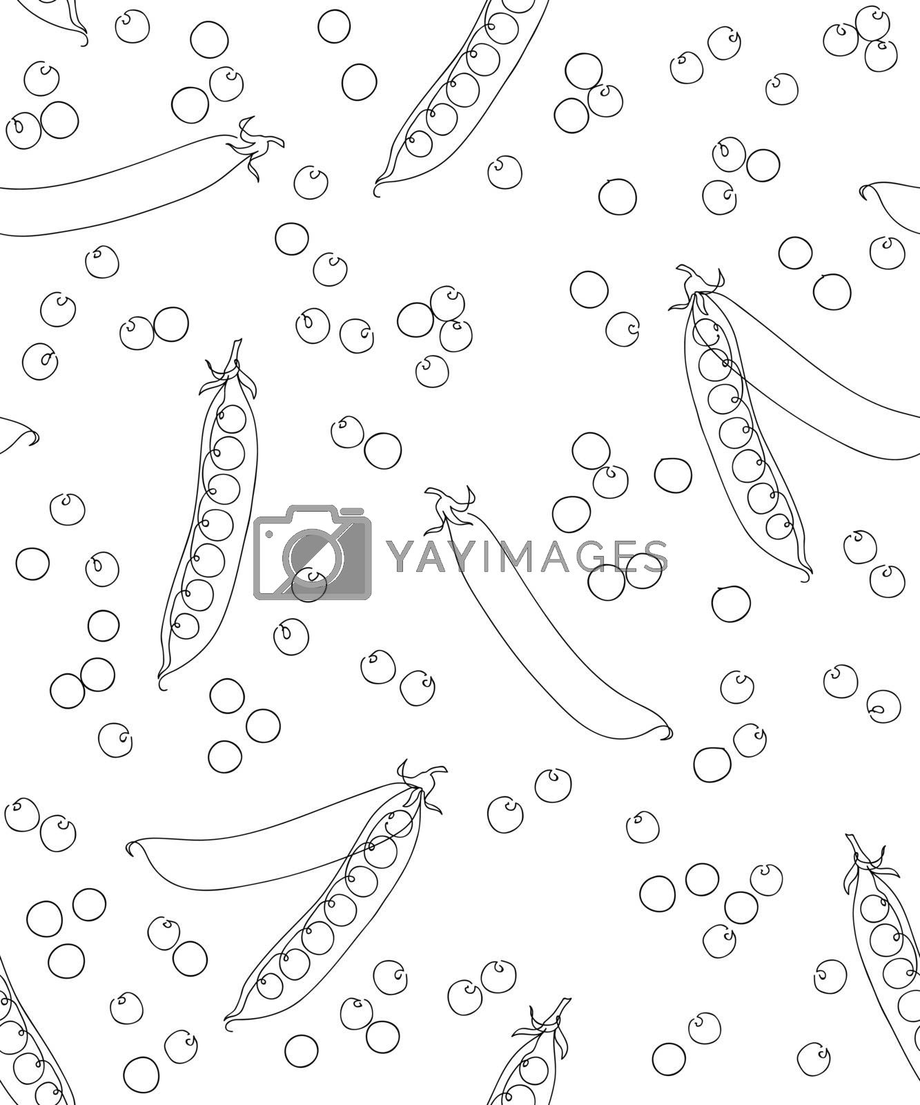 Seamless green peas pattern. Black on white background. Continuous line art. Outline style hand drawn sketch vector illustration.