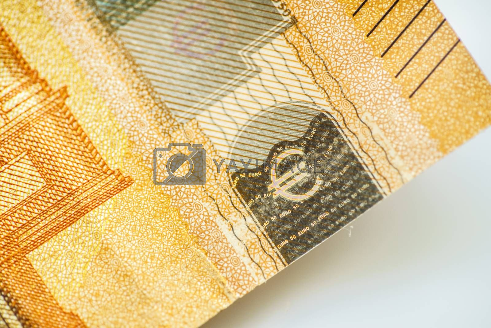 Closeup Euro Money Banknotes, Euro Currency, Macro Details of Fifty Euro Banknote, Cash, Bill Concept, High Resolution Photo