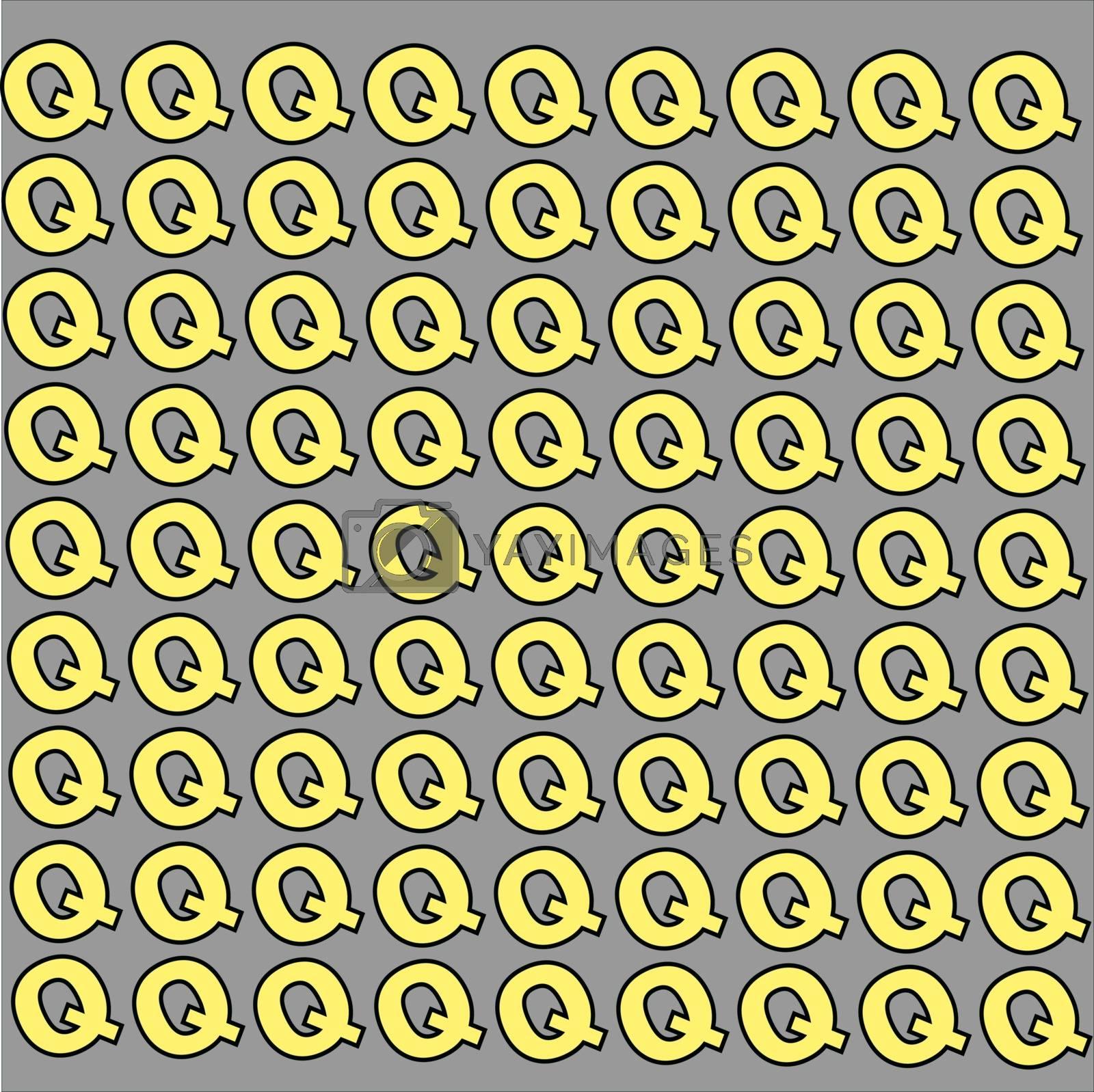 Letter Q wallpaper, illustration, vector on white background.