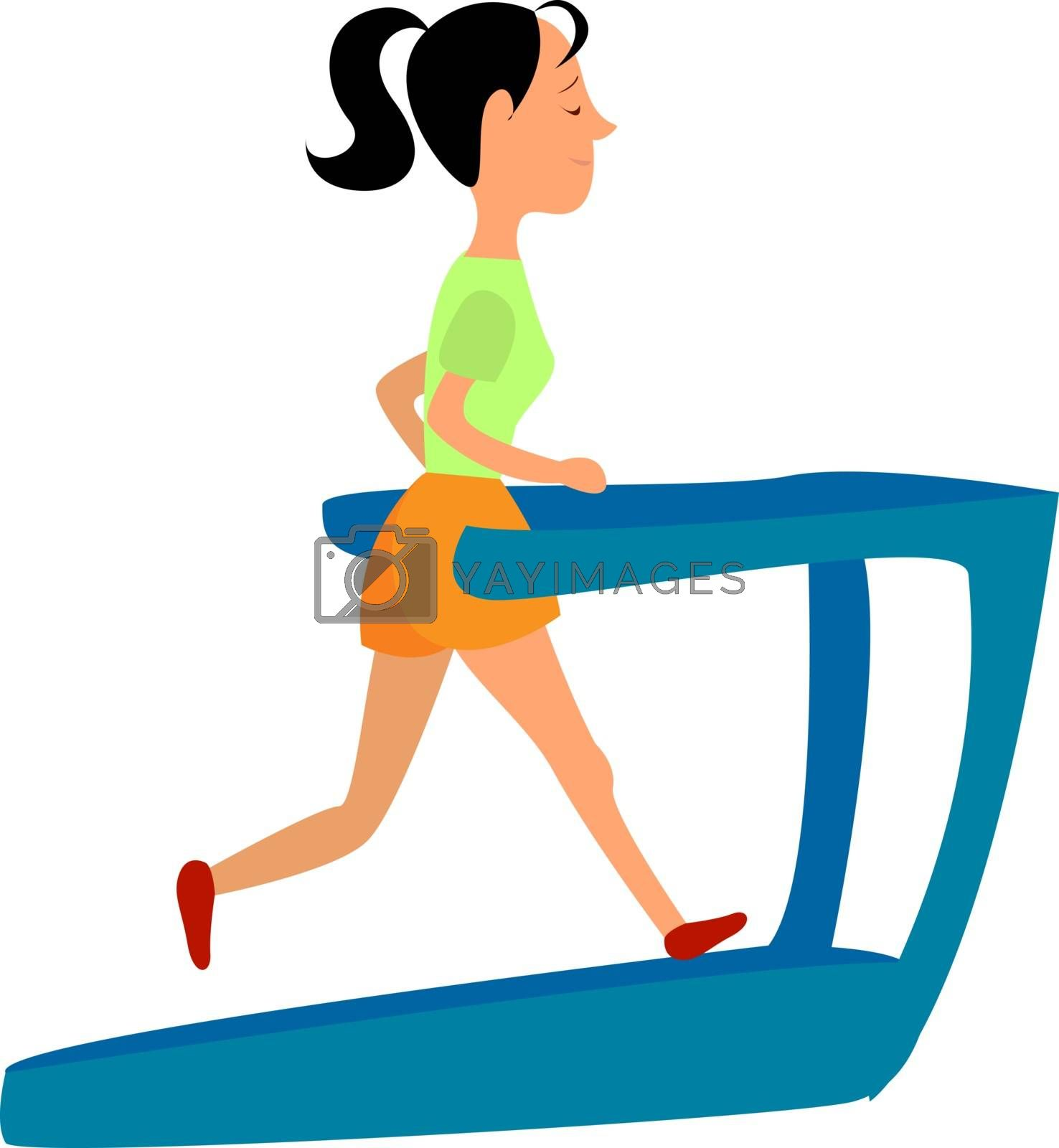 Treadmill, illustration, vector on white background.