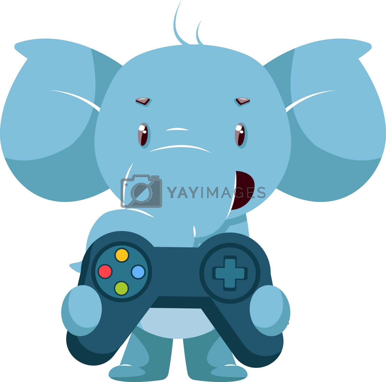 Elephant with gamepad, illustration, vector on white background. by Morphart