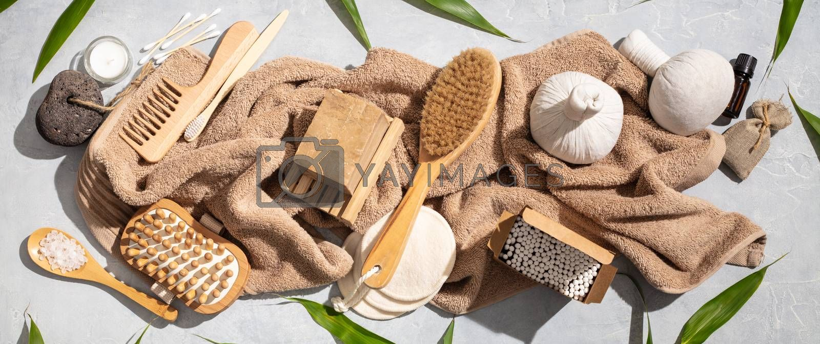 Zero waste, eco friendly bathroom and spa accessories on concrete background, flat lay