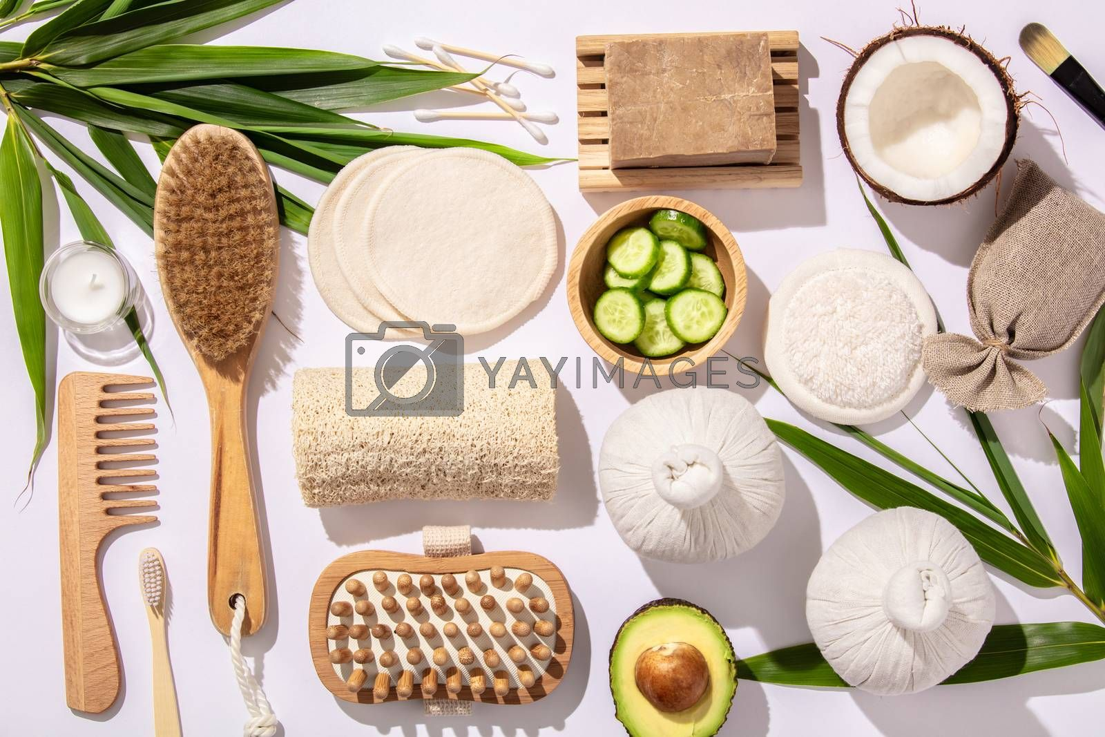 Natural skin care products. Zero waste, eco friendly bathroom and spa accessories on concrete background, flat lay