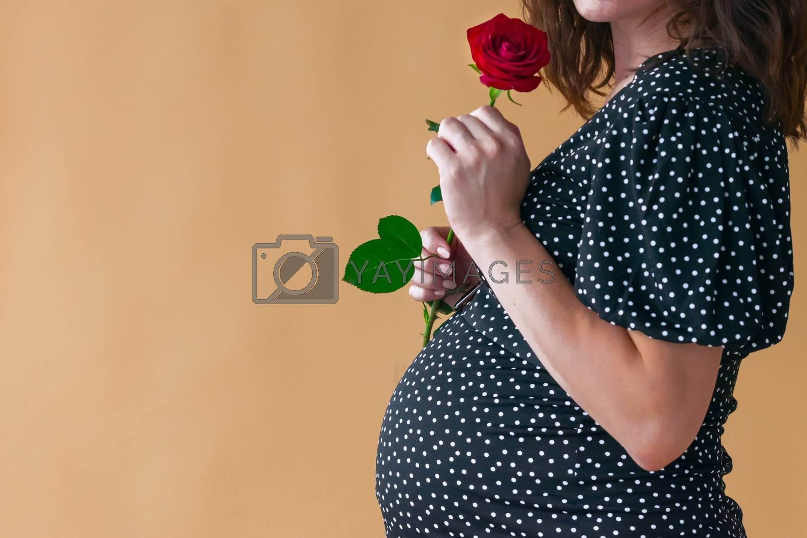 pregnant young woman in dark dress