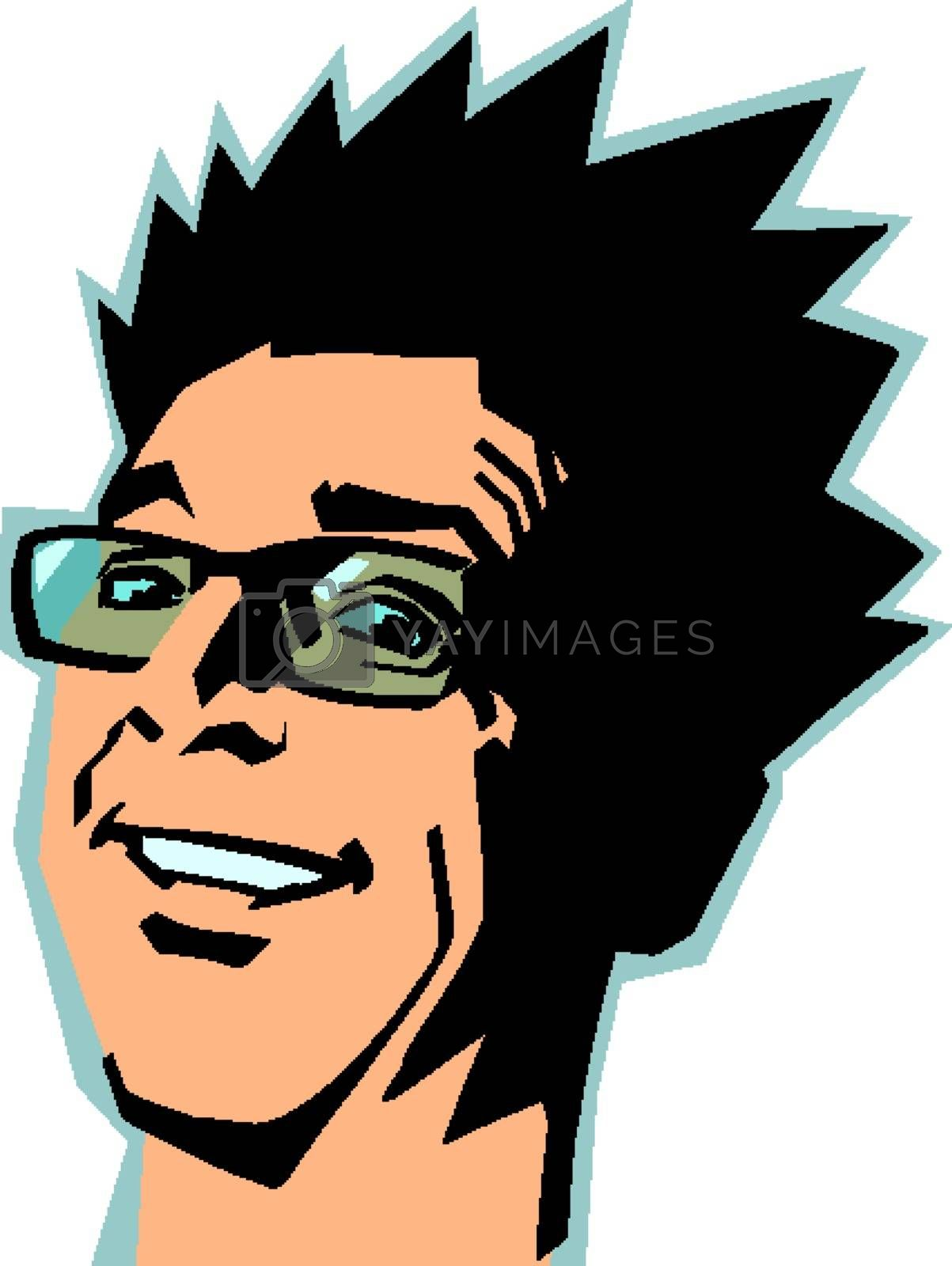 smiling man. joyful emotions comic cartoon pop art retro vector illustration drawing