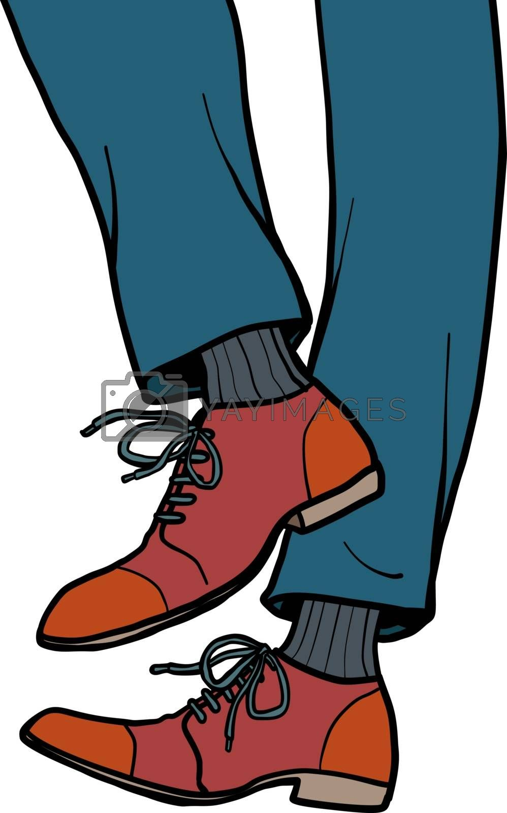 male legs walk. close-up of body part. Comic cartoon pop art retro vector illustration drawing