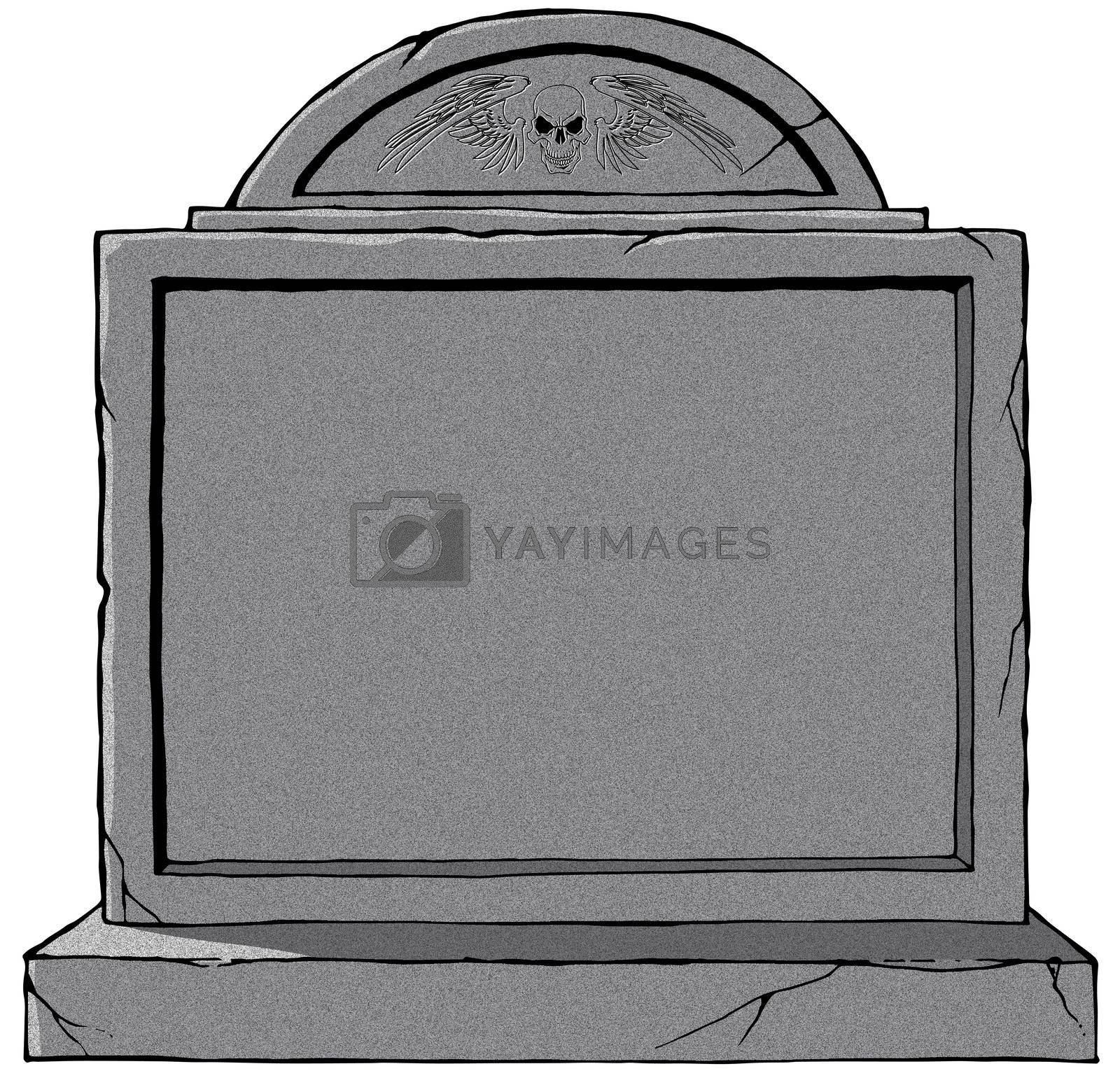 Old gothic grave blank stone tombstone illustration white background
