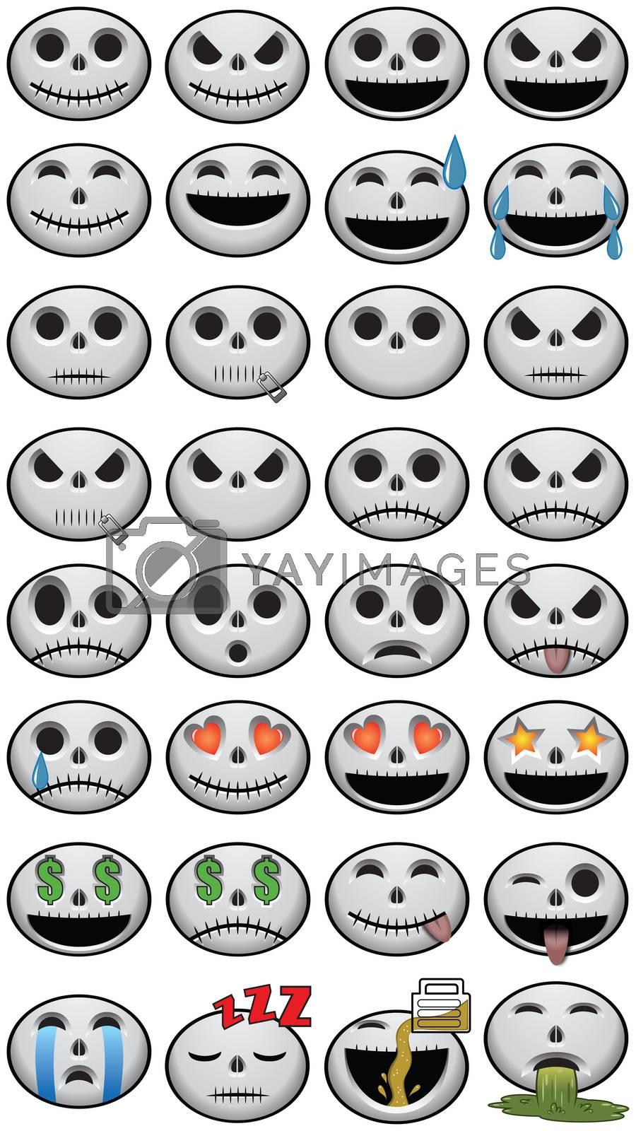 Thirty-two 32 Halloween Skull Emojis social media icon faces of emotion skulls