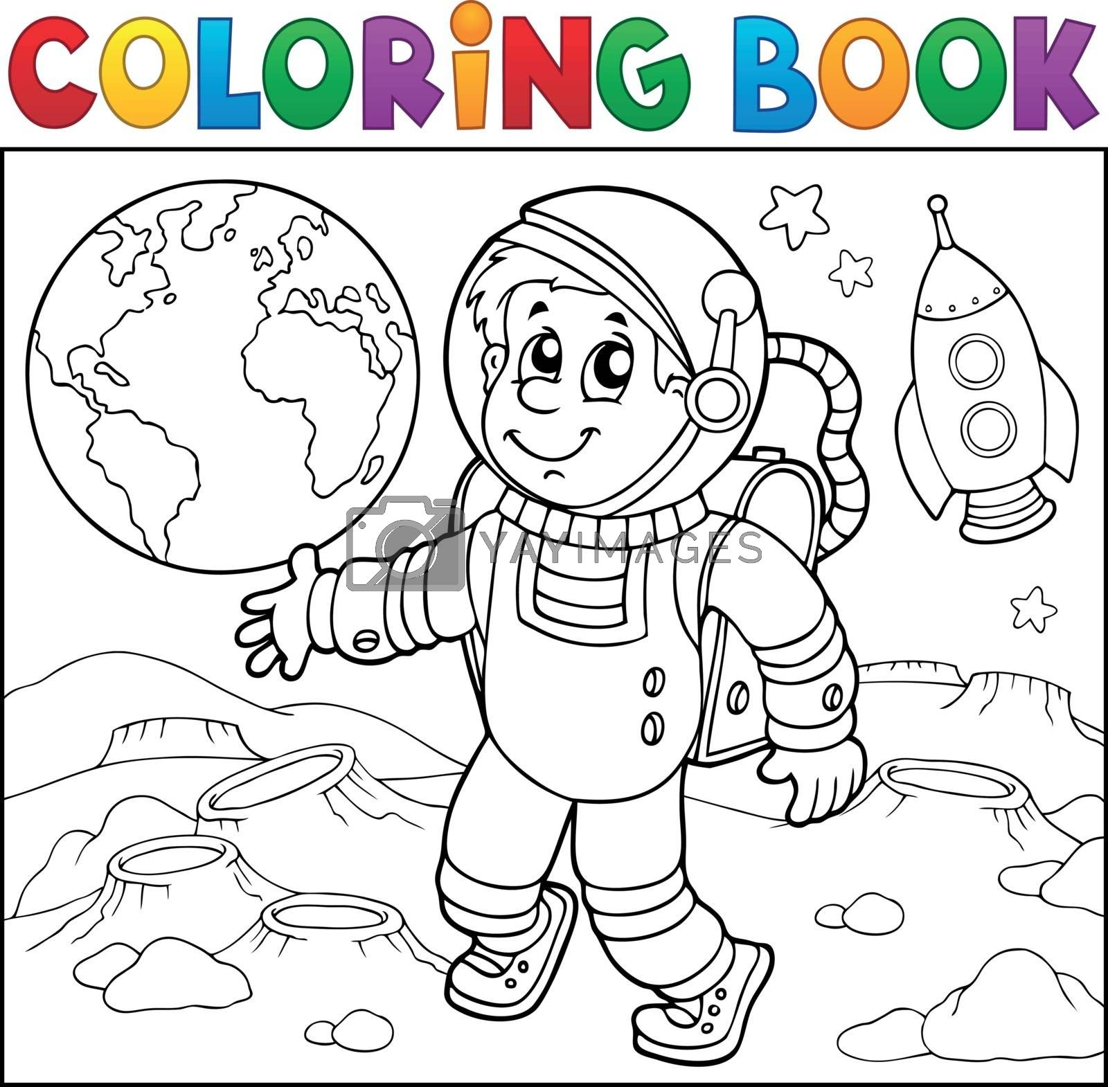 Coloring book astronaut theme 2 - eps10 vector illustration.