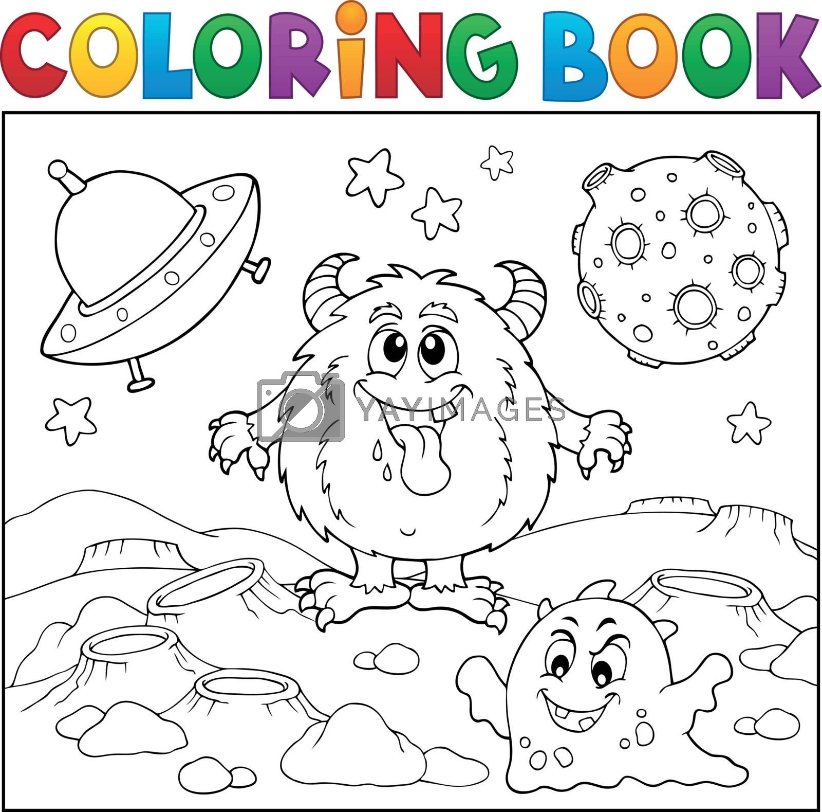 Coloring book monsters in space theme 1 - eps10 vector illustration.