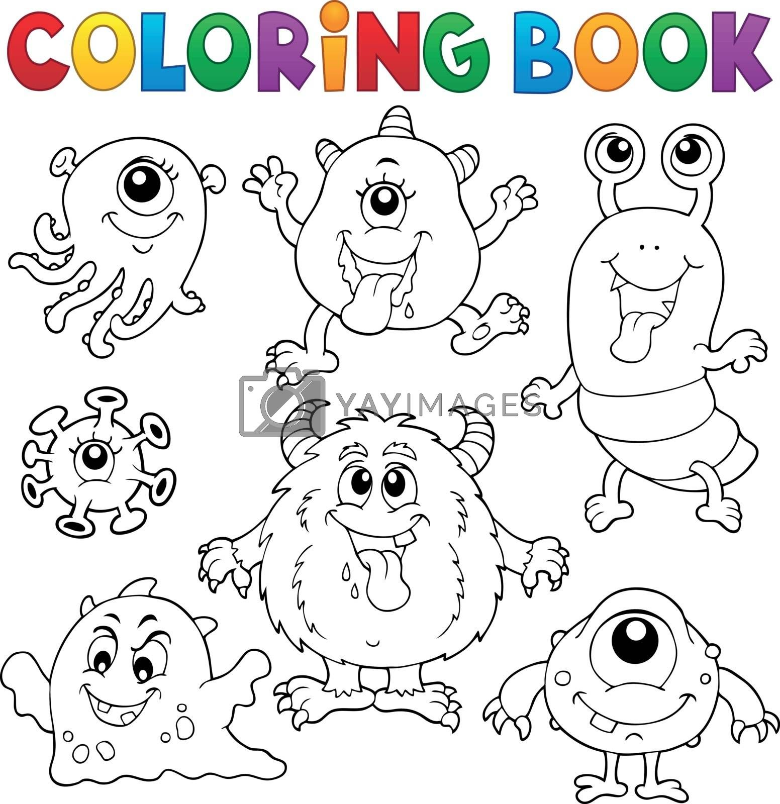 Coloring book monsters theme set 1 - eps10 vector illustration.